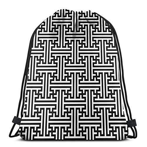 Hangdachang - Mochila con cordón clásico y laberinto art, mochila con cordón impermeable para adulto, senderismo, mochila de deporte, bolsa de almacenamiento para niños