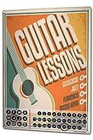 カレンダー Perpetual Calendar Professional Guild Guitar Lessons Tin Metal Magnetic Vintage