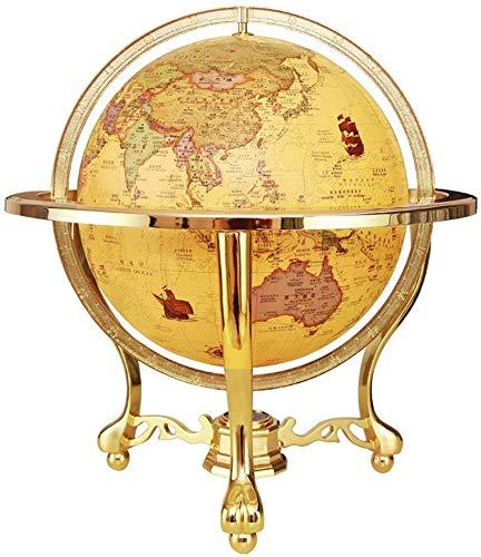 Soul hill Globe Educatief geschenk, Night Stand Decor Verlichte Wereld Globe Met Metal Base Gedetailleerde Wereldkaart (Kleur: Geel, Maat : Een maat)