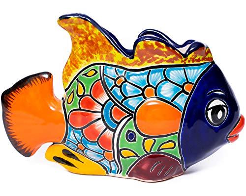 Enchanted Talavera Mexican Pottery Ceramic Beta Fish Plant Pot Flower Pot Planter Garden Décor Ocean Theme Sea Life Animal Creature (Small (11x7) Cobalt)