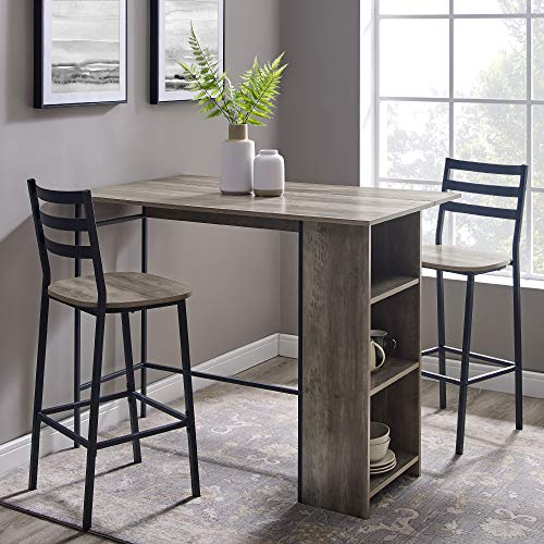 "Walker Edison AZW48LNSB3PGW 3 Piece Drop Leaf Counter Table Dining Set with Storage, 48"", Grey Wash New Mexico"