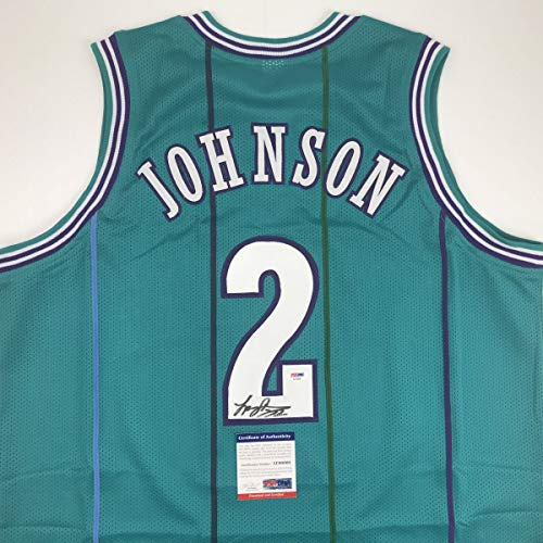 Autographed/Signed Larry Johnson Charlotte Teal Basketball Jersey PSA/DNA COA