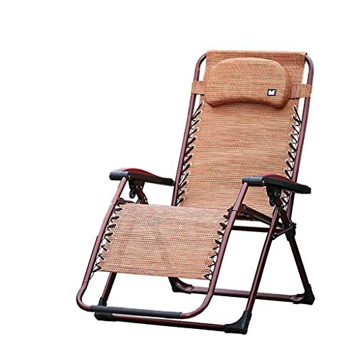 MOZUSA Sillas Plegables Silla de Camping for Heavy Personas Respaldo Alto del Recorrido al Aire Pesca Asiento reclinable Chaise portátil, Brown, 200kg