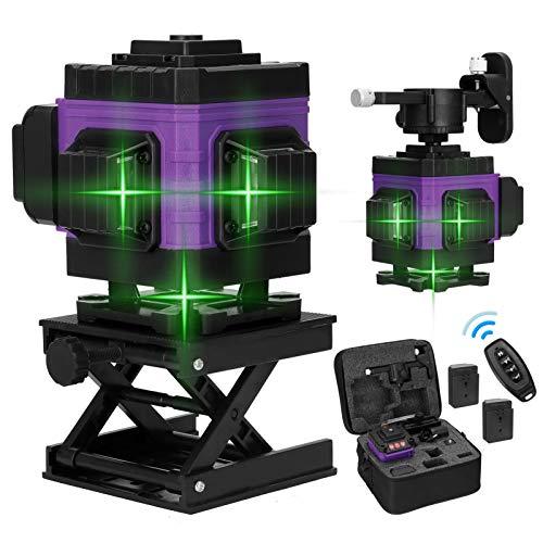 Kecheer Nivel láser autonivelante 12 líneas con 2 baterías,Nivelador laser 360º 3D pared verde,Niveles láser vertical horizontal autonivelación