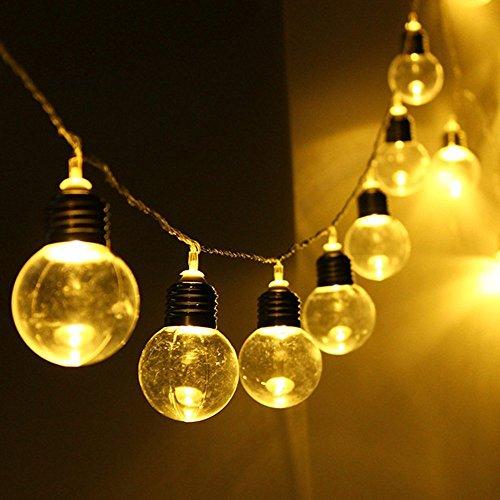 LED Birne Lichterkette,SUAVER Wasserdicht 2.5M 20LED solarbetriebene Party-Lichterkette led retro lampe Kugel Beleuchtung Dekolampe für Haus Dekoration,Garten,Party,Grill,Weihnachten(Warmweiß)