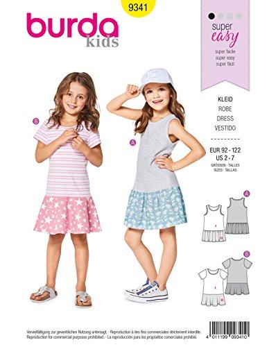 Burda Schnittmuster Kids 9341 Kleid, Weiß, 2-7 Jahre