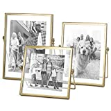 Set of 3 Glass Photo Frame Collection Simple Metal Geometric Picture Frame with Glass Cover Includes 4'' x 4'', 4'' x 6'', 5'' x 7''