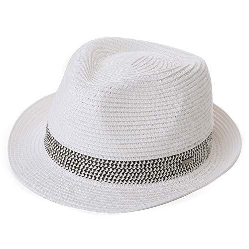 Comhats Strohhut Panamahut Sonnenhut Fedora Hut Handgemacht Herren Weiß M