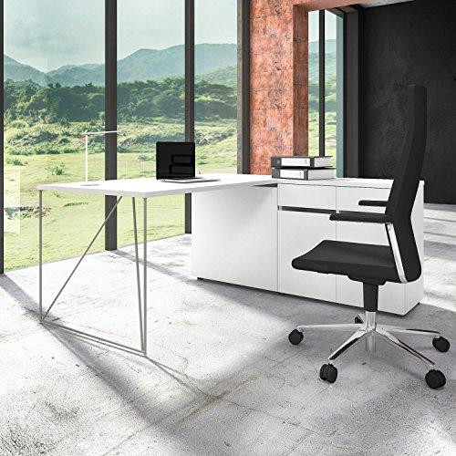 Profi Schreibtisch AIR mit integriertem Sideboard Bürotisch Computertisch Tisch, Gestellfarbe:Silber