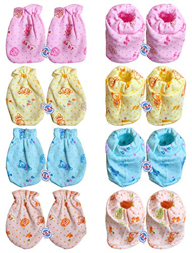V.B.K Baby Boy and Baby Girl Combo Pack of Hand Mittens (4 Pair) and Leg Booties (4 Pair), Hosiery Soft Fabric, 0 to 4 Months