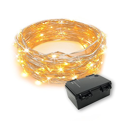 of battery electric strings RTGS 60 LEDs String Lights Battery Operated on 20 Feet Long Silver Color Wire, Indoor and Outdoor with Waterproof Battery Box and Timer (Warm White)