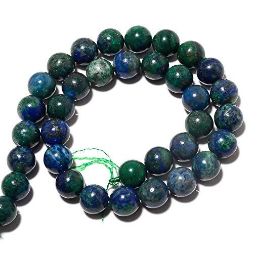 Jaipur Gems Mart AAA Natural 1 de Piedras Preciosas Perlas Azurita Strand para Hacer la joyería | 6 mm Alrededor de Granos de Azurita | Azurita los Granos Flojos Redondos Lisos | Strand 15