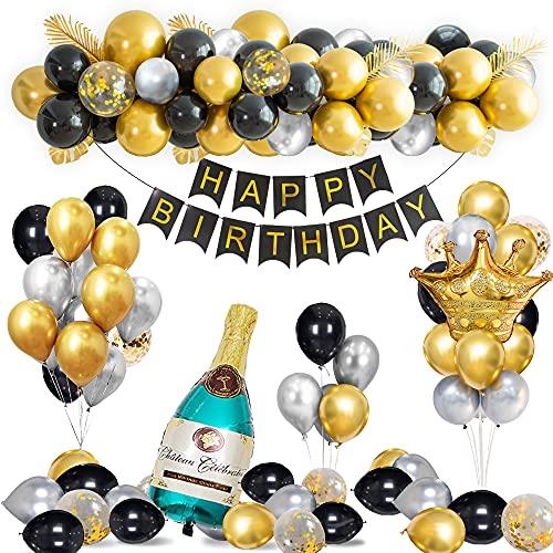 Decoraciones Cumpleaños Oro Negro, Globos Cumpleaños Oro Negro con Pancarta Happy Birthday, Globos Látex Confeti Plateado Cromado, Globo Lámina Corona Champán para Hombres, Mujeres Adultos Cumpleaños