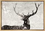 SIGNWIN Framed Canvas Home Artwork Decoration Black and White Deer with Antlers Animals Wildlife Block Print Abstract Decorative Elements Canvas Wall Art for Living Room Bedroom - 24' x 36' Natural