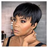 Pelucas cortas de cabello humano Becus para mujeres negras afroamericanas pelucas cortas de corte Pixie Bob pelucas de cabello negro corto