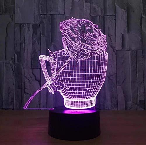 Día de San Valentín 3D lámpara 7 regalo colorido remoto táctil visual led Nightlight amantes regalo lámpara