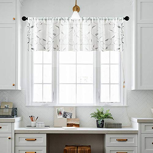 MRTREES White Sheer Valance 16 inch Length Linen Textured Curtain Valances Leaf Printed Bedroom Living Room Leaves Print Curtain Panels Rod Pocket Window Treatment 1 Panel