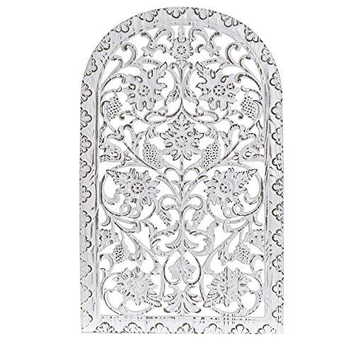 Hogar y Mas Mural de Madera Tallada Blanca para Pared,Retablos Pared Mandala. Decoración Original y Étnica 50x1,5x80 cm
