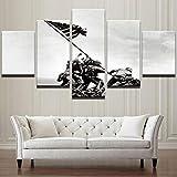 wangdazhuang Impresión De Imagen De Arte Cuadros Grandes Baratos Ejército De Bandera De Iwo Jima Estadounidense 5 Pinturas Cuadro En Lienzo De Decoración del Hogar-150X80 Cm XXL