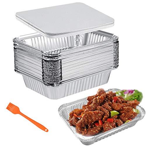 Aluschalen Grillschalen Aluminiumschalen mit Deckel 30 Stück 1000ml Einweg-Backform Aluminium Tropfschalen Perfekt für Kochen Rösten Backen