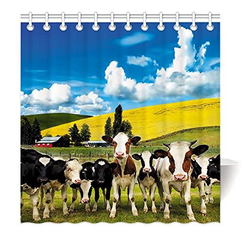 Zomer Duschvorhang Textil Waschbar Anti-Schimmel Badezimmer Badewanne Vorhang Bedruckt mit Kuh Herde,Grün,160 x 180 cm