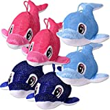 TE-Trend 6 unidades de peluche, ballenas, peces, animales acuáticos, 30 cm, azul, azul claro, rosa, regalo para cumpleaños infantiles
