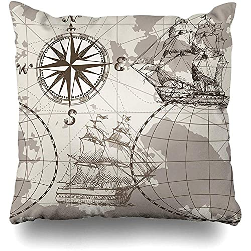 Moily Fayshow Throw Pillow Cover Square Case 40X40 Cm Marine World Sea Map Vintage Pergamino Brújula Mano Antiguo Dibujado Viejo