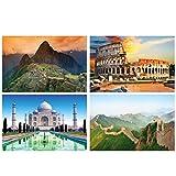 GREAT ART Juego de 4 pósteres XXL – Patrimonio cultural – Machu Piccu Colosseum Rom Taj Mahal India – Decoración de pared china – Póster de pared de 140 x 100 cm