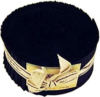 Moda Basics Bella Solids Black 9900-99 Jelly Roll, Set of 40 2.5x44-inch (6.4x112cm) Precut Cotton Fabric Strips
