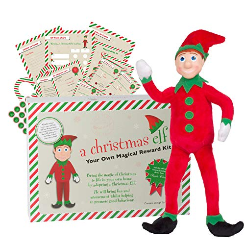 A Christmas Elf – 30cm Tall with BENDY ARMS & LEGS Festive Fun & Magical Christmas Wish List & Reward Kit for Children - Can sit on the shelf or lean and hang