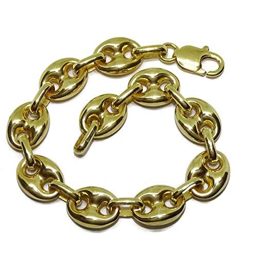 Impresionante pulsera de calabrote toda de oro amarillo de 18k calabrotes de 12x10mm y 21cm de largo. Para hombre o mujer. Cierre mosquetón para total seguridad. Peso; 20.10 gr de oro de 18k
