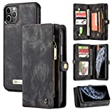 iPhone 11 Pro Max Wallet Case,Zttopo 2 in 1 Leather Zipper Detachable Magnetic 11 Card Slots Card Slots Money Pocket Clutch Cover with Screen Protector for iPhone 11 max 6.5 Inch