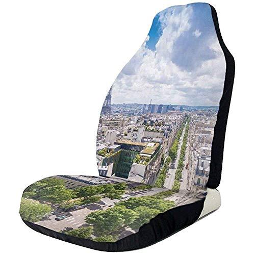 Drew Tours Auto Vordersitzbezüge Fahrzeugschutz, Antenne Paris Eiffelturm Französisch Erbe Kultur Architektur Bild, fit die meisten Autos, Limousine, LKW, SUV