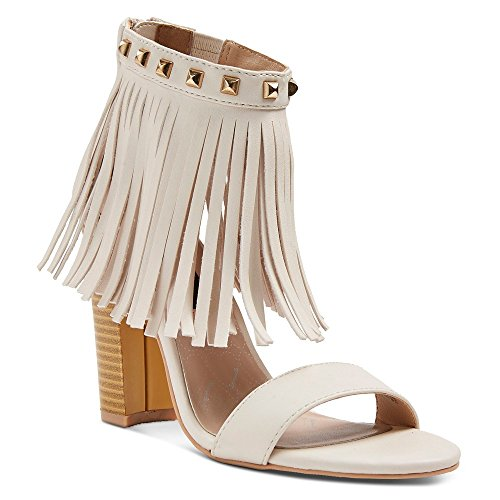Betseyville Women's Haley Slide Sandals with studs and fringe detail at ankle (9.5, Natural)