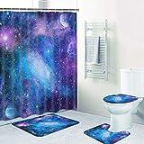 TAMOC 4 Pcs Purple Galaxy Shower Curtain Set with Non-Slip Rug, Toilet Lid...