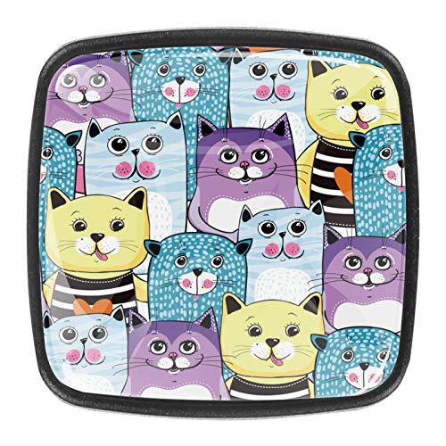 Pomos de cajón para armarios, armarios, mesitas de noche, 4 piezas, diseño de gato de dibujos animados azul púrpura amarillo