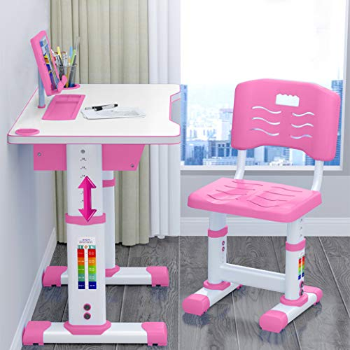 Kids Desk and Chair Set Children Desk, Adjustable Height Childr Study Desk Chair and Table Set, Students Interactive Workstation with Wood Tiltable for Studying, Reading and Drawing Storage (Pink)