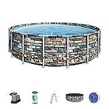 Bestway 56886 Piscine hors sol Power Steel™ ronde 548 x 132 cm motif pierre, filtration à cartouche, échelle, bâche, diffuseur Chemconnect™ et cartouche antimicrobienne inclus
