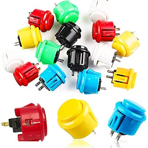 Botones Arcade, Senteen 24pcs Interruptor Arcade 24mm 30mm Botones Iluminados Arcade Conmutables Pulsadores Arcade De Colores Para Push Button Diy Fighting Stick Pc Joystick Juegos Parts