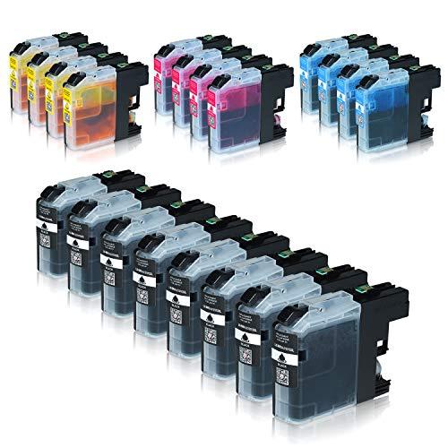 Logic-Seek 20 Tintenpatronen kompatibel für Brother LC-123 LC123 LC-121 LC-127 LC-125 XL für Brother MFC-J470DW MFC-J870DW DCP-J552DW - Schwarz je 20ml, Color je 14ml mit Chip