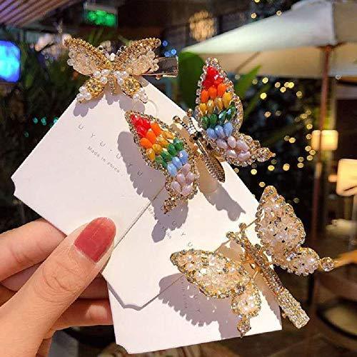 3 uds.Pinzas para el cabello de mariposa con perlas de cristal para mujeres,accesorios para el cabello con flores de alta gama, horquillas con diamantes de imitación,pasador para el con flores