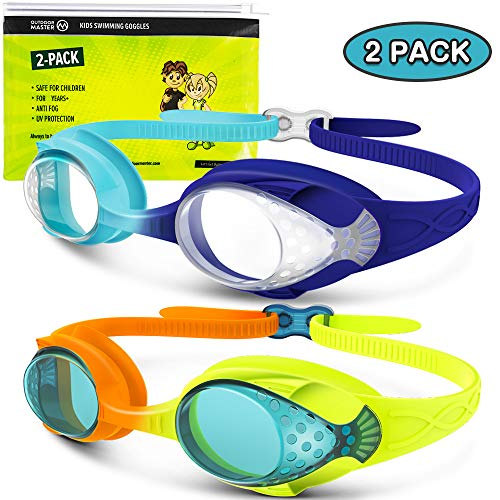 OutdoorMaster Kids Swim Goggles 2 Pack  Quick Adjustable Strap Swimming Goggles with Clear/Tinted Lens 3D SNUG Fit AntiFog Waterproof 100% UV Protection for Child Teens Toddler Age 316D
