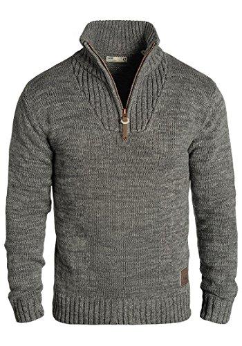 !Solid Philostrate Herren Strickpullover Troyer Grobstrick Pullover Aus 100% Baumwolle Mit Reißverschluss, Größe:M, Farbe:Dark Grey (2890)