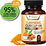 Turmeric Curcumin Highest Potency 95% Curcuminoids 1950mg with BioPerine Black Pepper for Best Absorption, Made in USA, Best Vegan Joint Support Turmeric Pills by Natures Nutrition - 60 Capsules