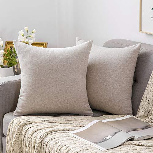 MIULEE 2er Pack Home Dekorative Leinen-Optik Kissenbezug Kissenhülle Kissenbezüge für Sofa Schlafzimmer mit Reißverschlüsse 40x40 cm Grau Weiß