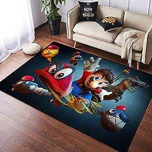 Coobal Super Mario Odyssey decoración del hogar alfombra grande alfombra de yoga alfombra alfombra personalizada para niños sala de juegos dormitorio 4 x 6 pies (122 x 182 cm)