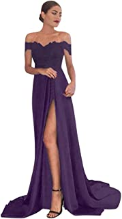 GHrcvdhw Women's Solid Color Lace Satin Sexy Deep V-Neck Slit Cocktail Long Dress Party Evening Dress