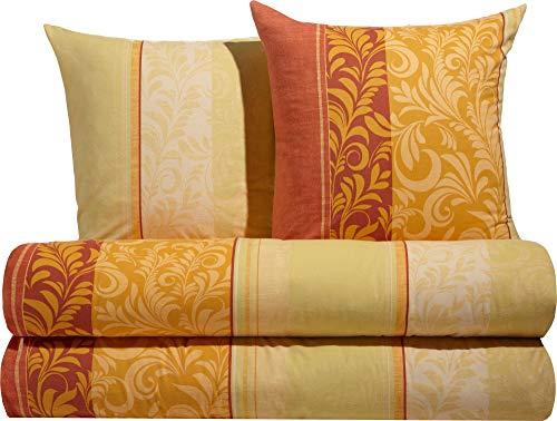 Erwin Müller Flanell Bio-Bettwäsche, Bettgarnitur mit eleganten Ranken gelb-orange, Größe 155x220 cm (80x80 cm) - temperaturausgleichend, mit Reißverschluss, 100% Baumwolle (weitere Größen)