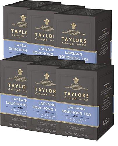 Taylors Lapsang Souchong Tee Intensive & Smoky Schwarztee / Té Nero Cinese Affumicato - 6 x 20 individuell verpackte und Getaggte Teebeutel (300 Gramm)