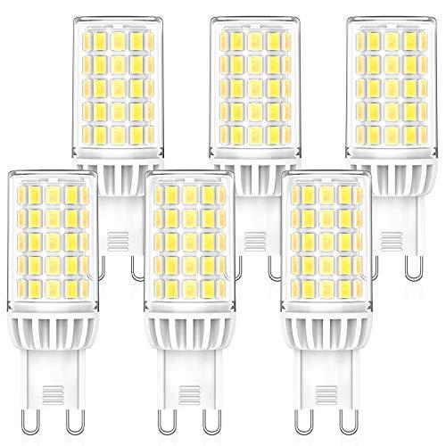 MLlichten 6W Bombillas LED G9 6000K Blanco Frío, Equivalente 50W 60W Halógeno, No Regulable Sin Parpadeo G9 LED...
